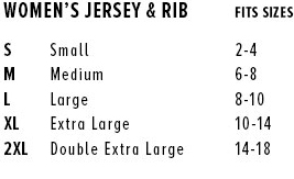 Women's Tee Sizing Chart