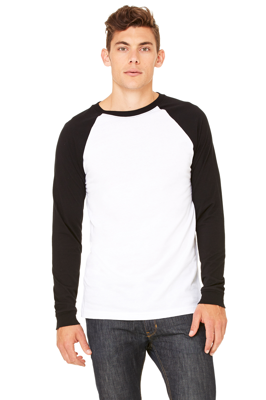 men 39 s jersey long sleeve baseball tee bella canvas