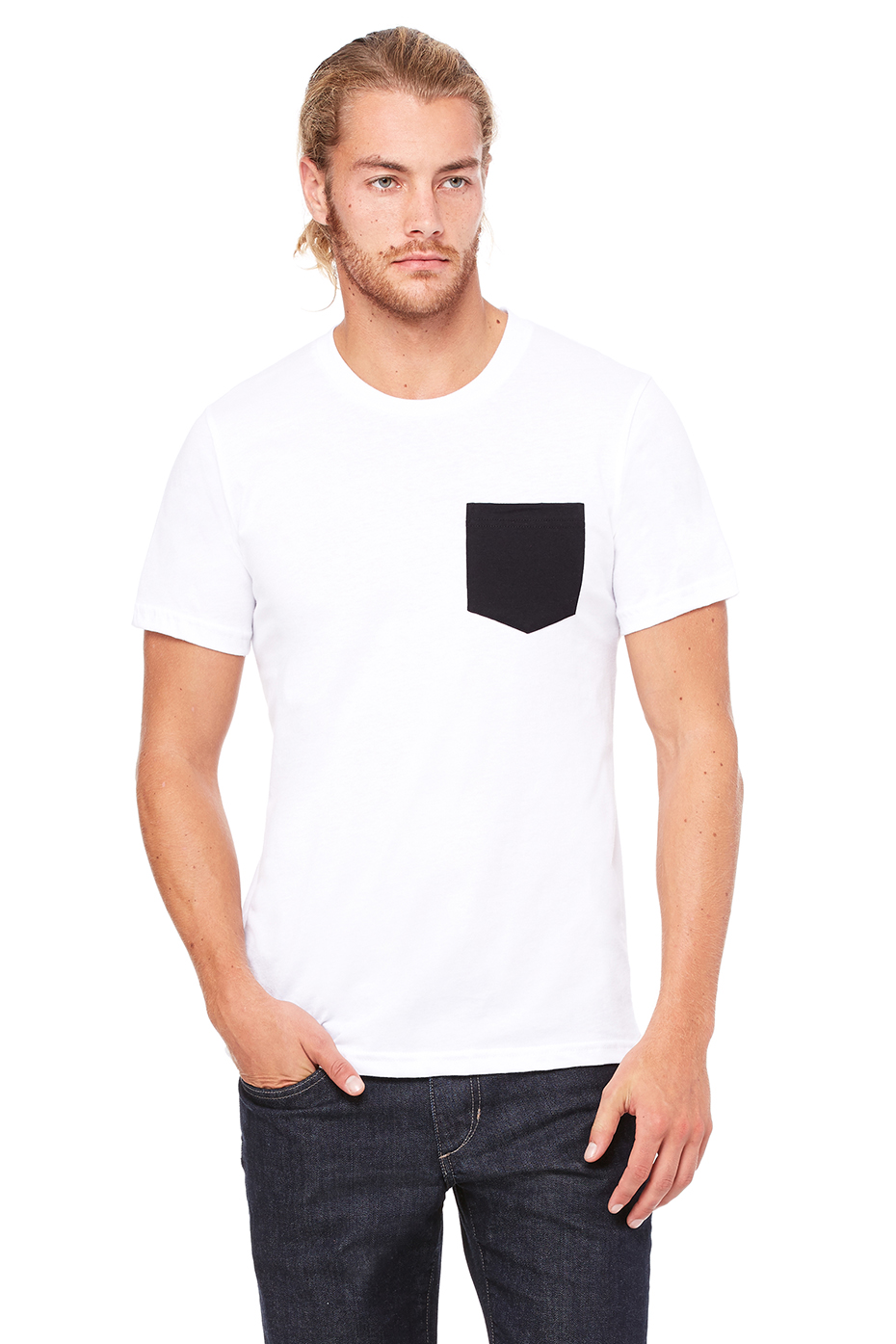 Men 39 s jersey short sleeve pocket tee bella canvas for Black and white short sleeve shirts