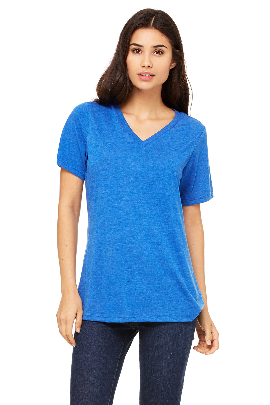 Women 39 S Relaxed Jersey Short Sleeve V Neck Tee Bella Canvas