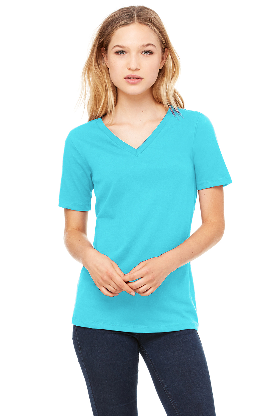 For Women Long Hairstyles And: Women's Relaxed Jersey Short Sleeve V-Neck Tee