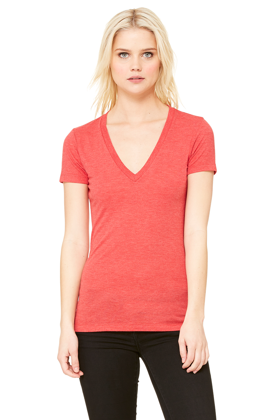 Wholesale Clothing Triblend S S Deep V Neck Tee