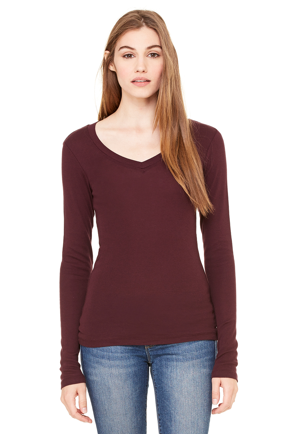 Women's Sheer Mini Rib Long Sleeve V-Neck Tee