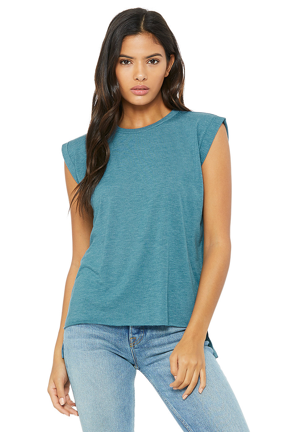 women u0026 39 s flowy muscle tee with rolled cuff