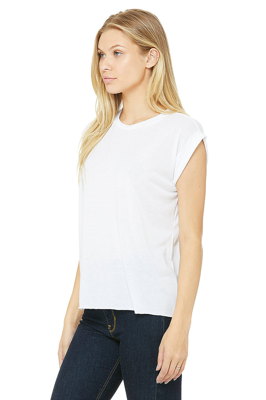 Damen Flowy Muscle Tee with Rolled CuffBella