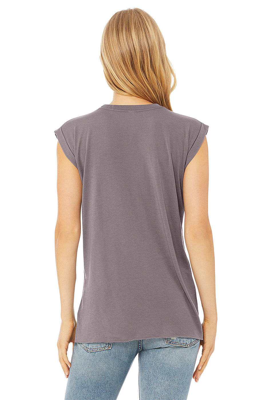1ca96458aae 8804 Women s Flowy Muscle Tee with Rolled Cuff. Previous. Next