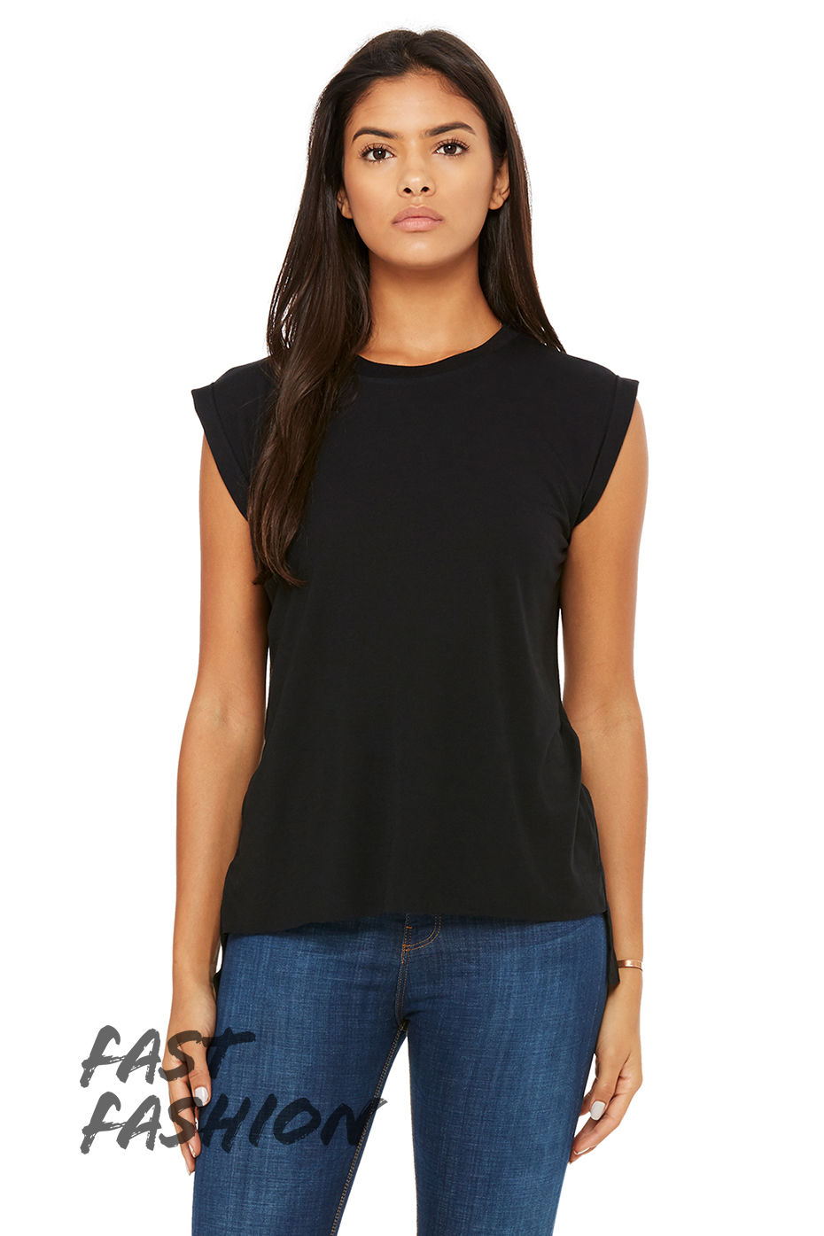 Women 39 S Flowy Muscle Tee With Rolled Cuff Bella Canvas