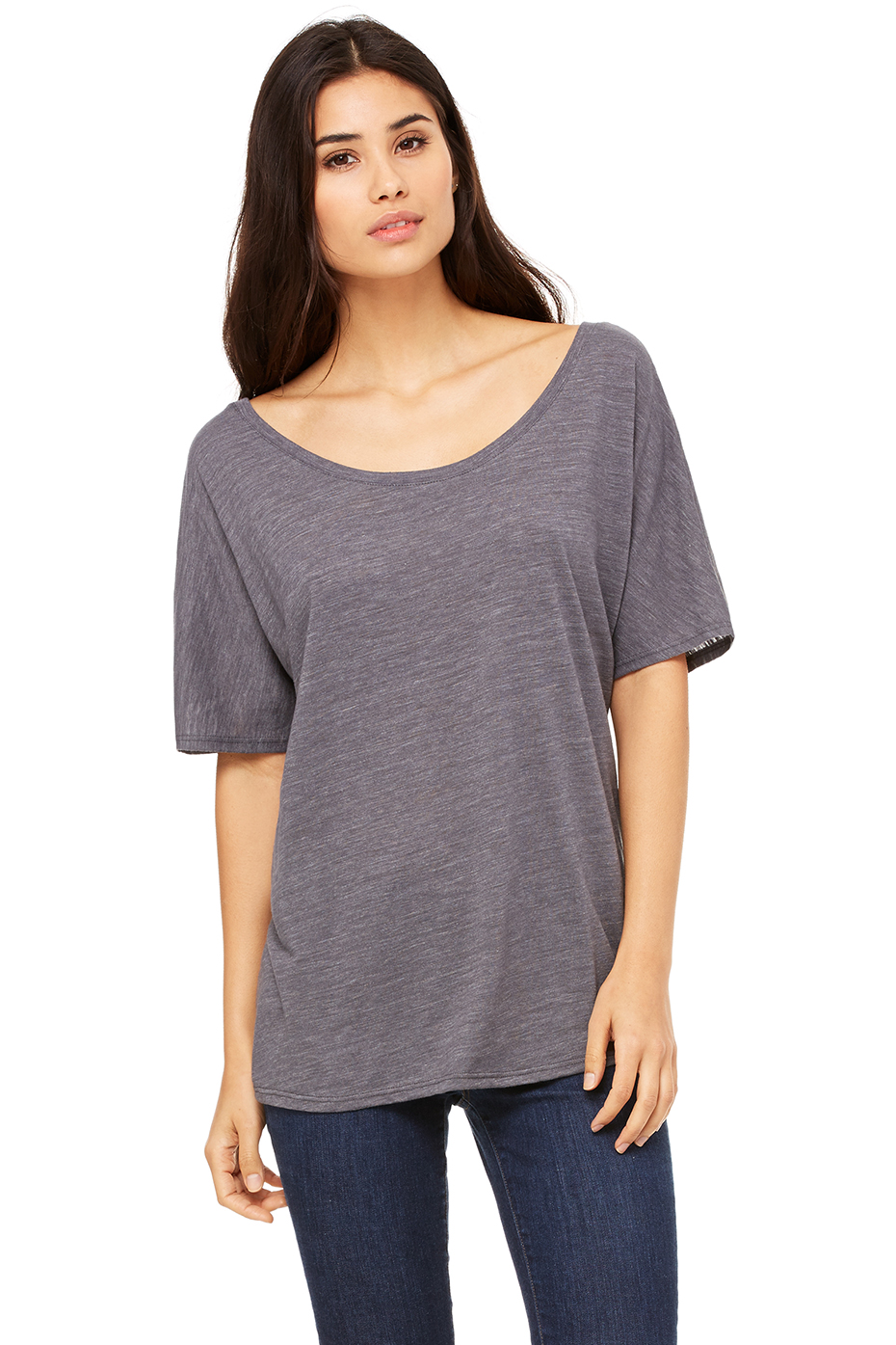 Women 39 s slouchy tee bella canvas for Womens black tee shirt