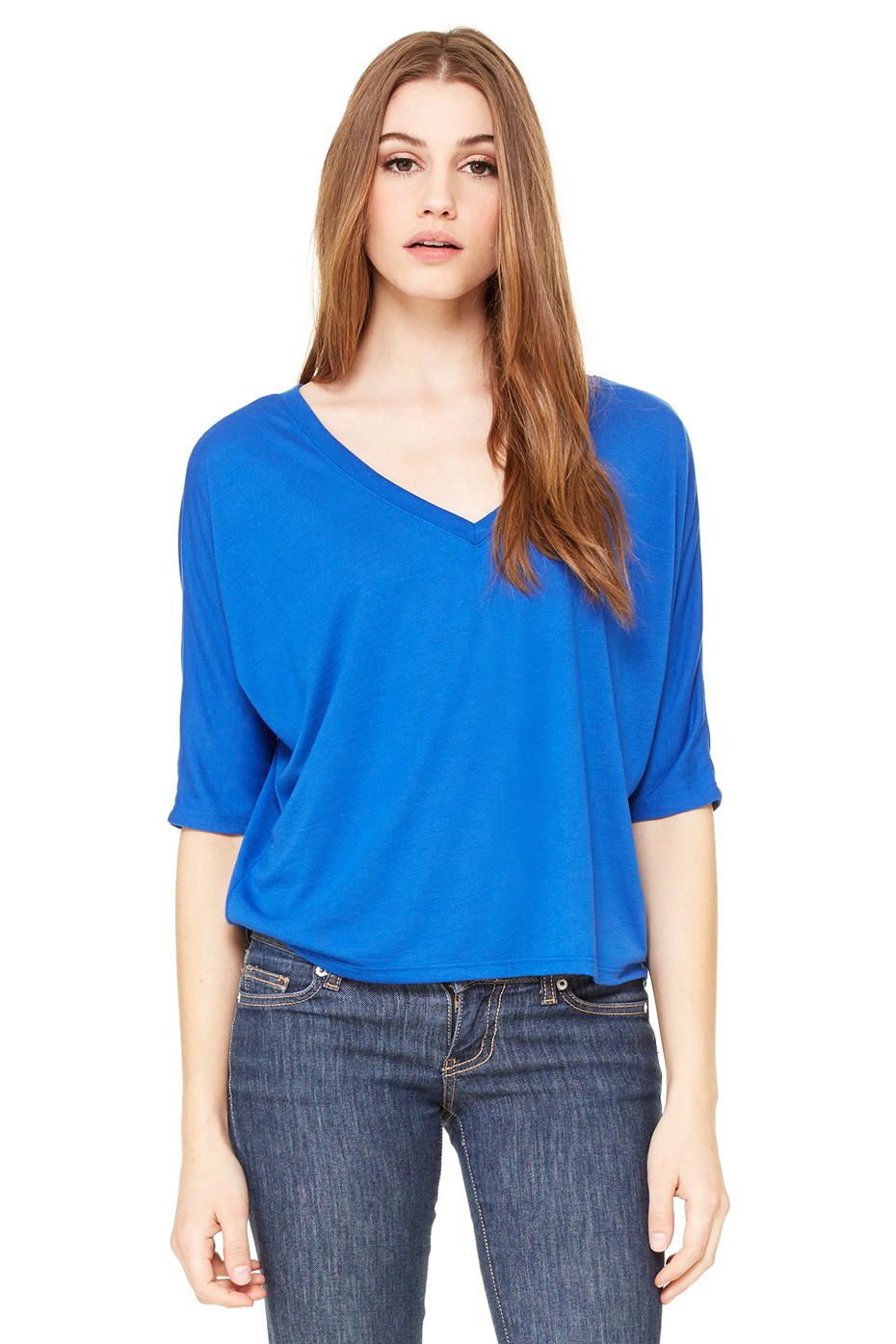 Women's Flowy Half-Sleeve Cropped V-Neck Tee