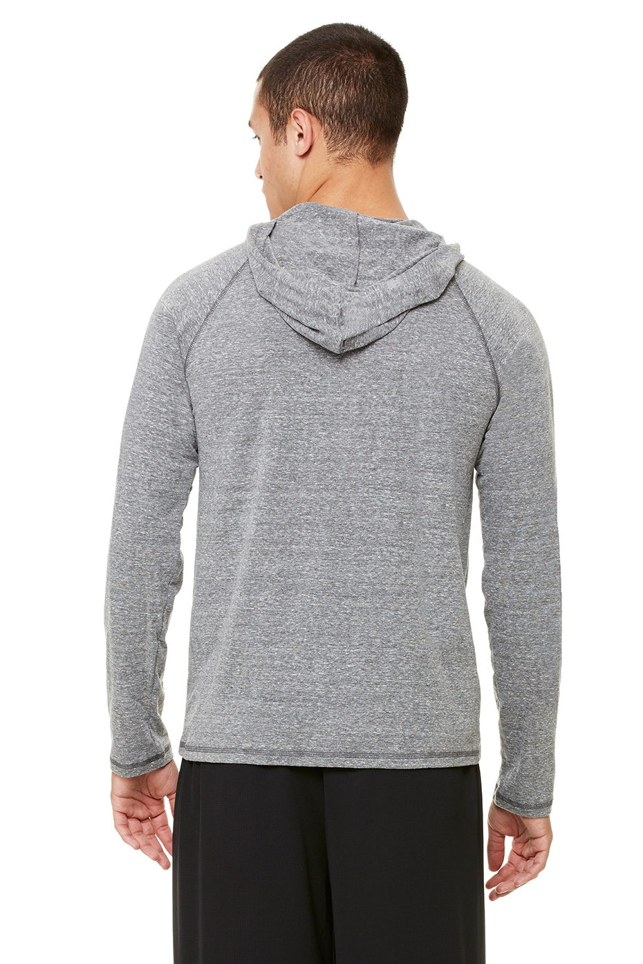 Top of the World Mens Premium Triblend Gray Heather Long Sleeve Hoodie Tee