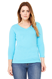 Relaxed Jersey 3/4 Sleeve V-Neck Tee