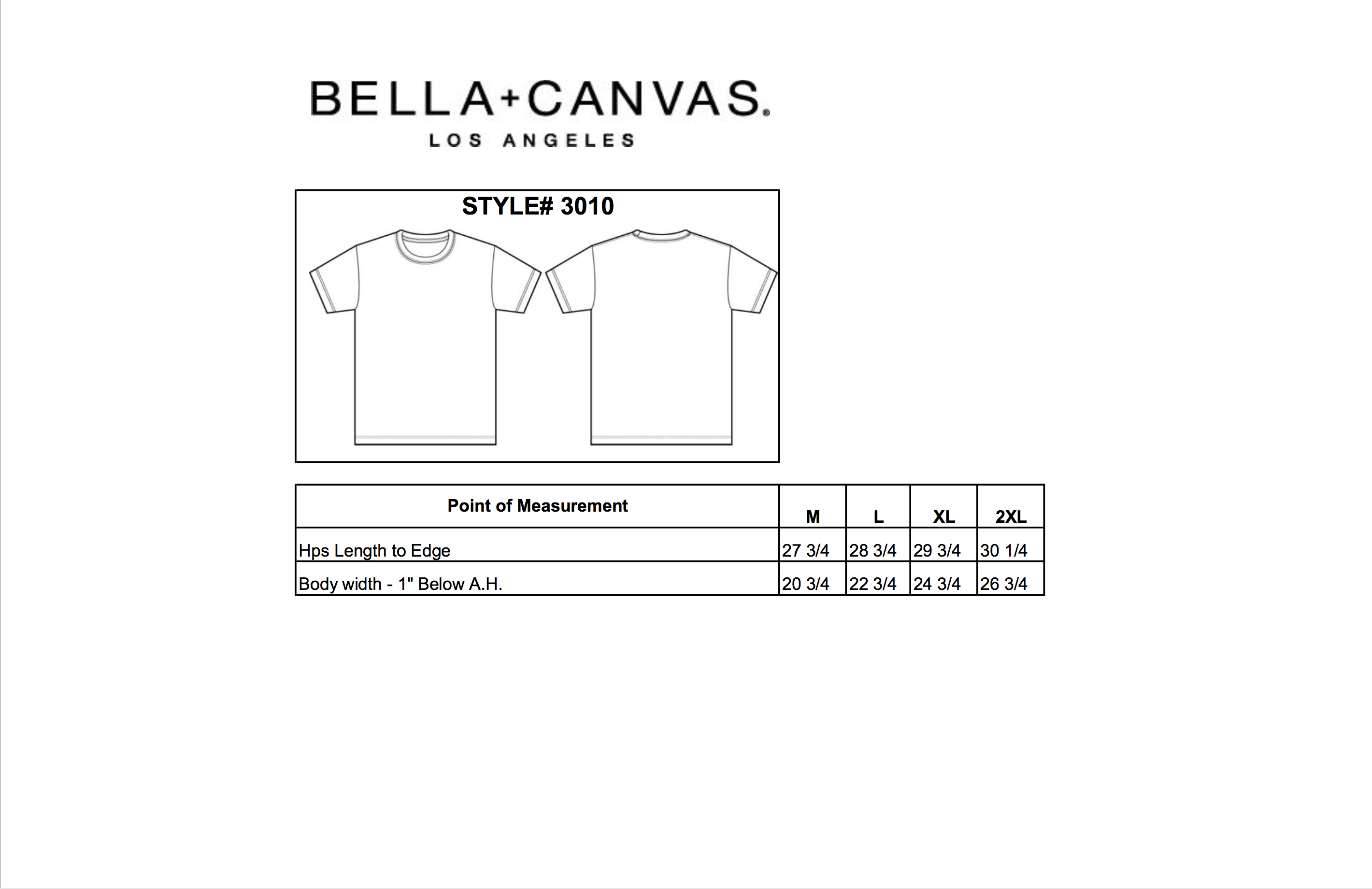 Product Specifications Bella Canvas